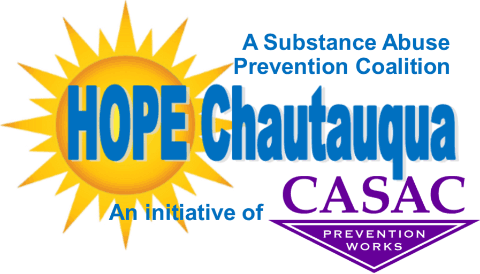 Logo: A Substance Abuse Coalition - HOPE Chautauqua - An initiative of CASAC
